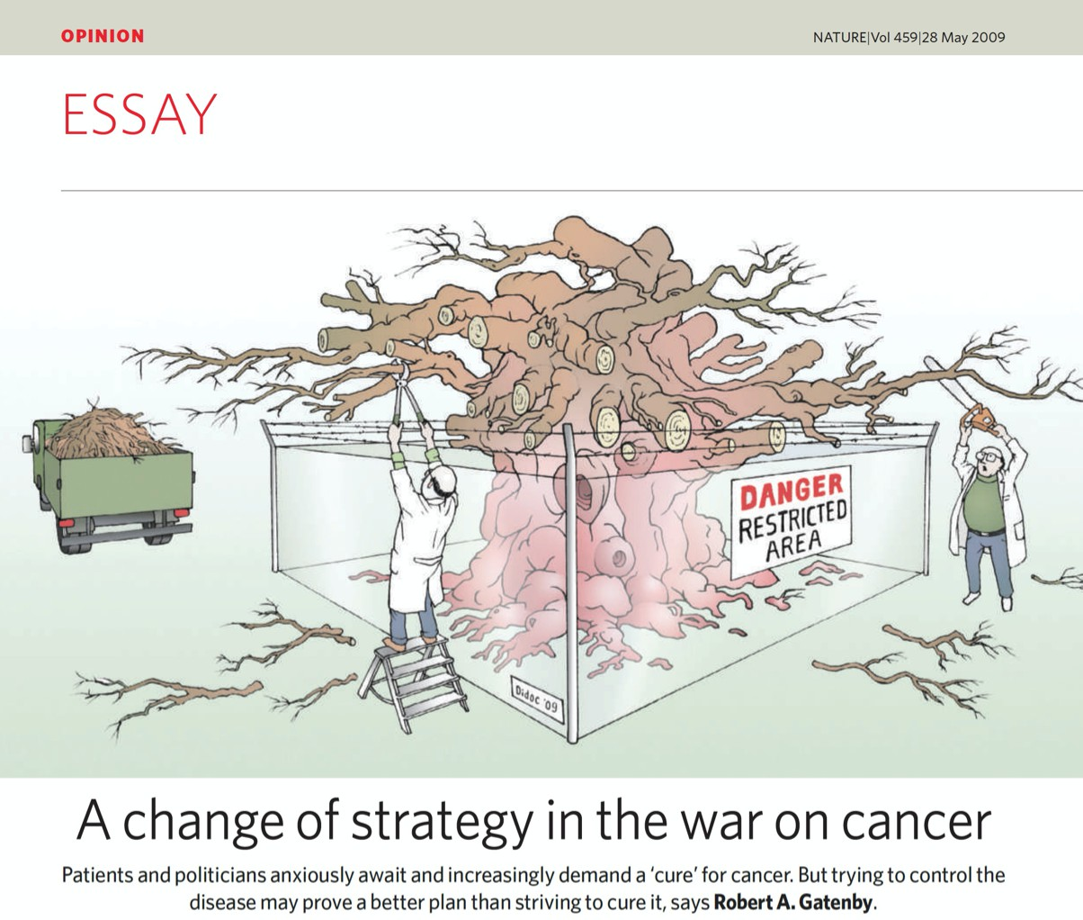 "Reference: Robert (2009). ""A change of strategy on the war on cancer.""  Nature 459, pages 508–509."